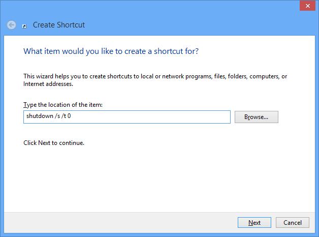 Windows 8 Shut Down shortcut