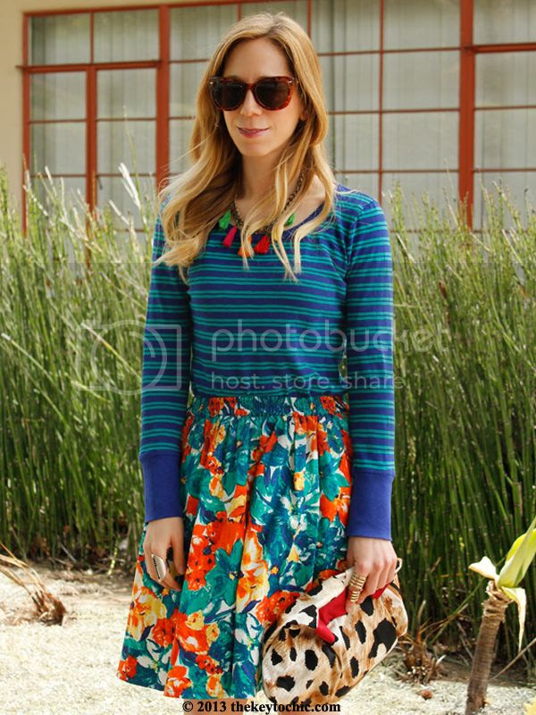 striped J Crew top, floral Duro Olowu for JCPenney skirt, Los Angeles fashion blogger