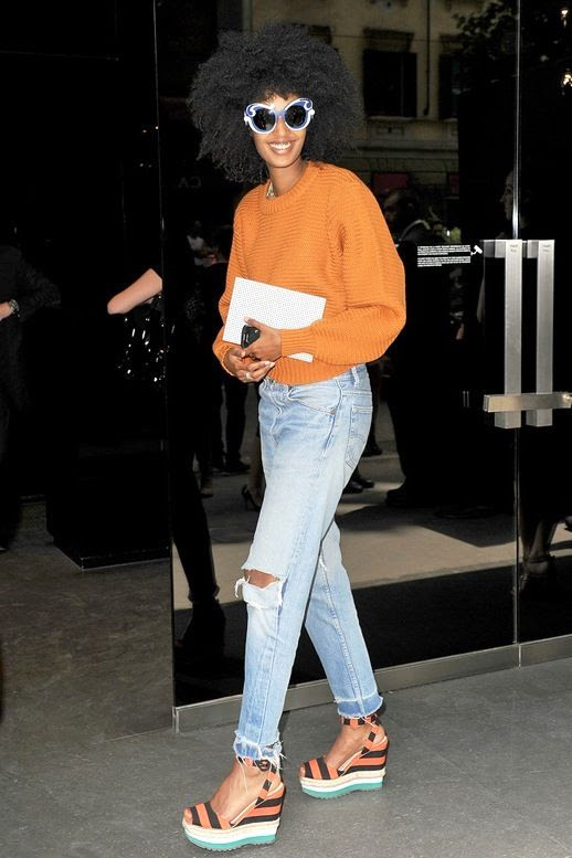 Le Fashion Blog Editor Style Julia Sarr Jamois Bright Whimsical Look Two Tone Sunglasses Orange Sweater Distressed Denim With Ripped Knees Striped Platform Sandals Via Some Company