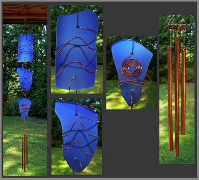 suncatcher, stained glass, copper, beach glass inspired, handcrafted