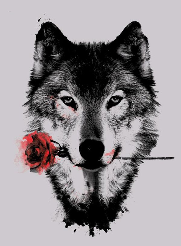 Wolf With Rose Flower Tattoo Design