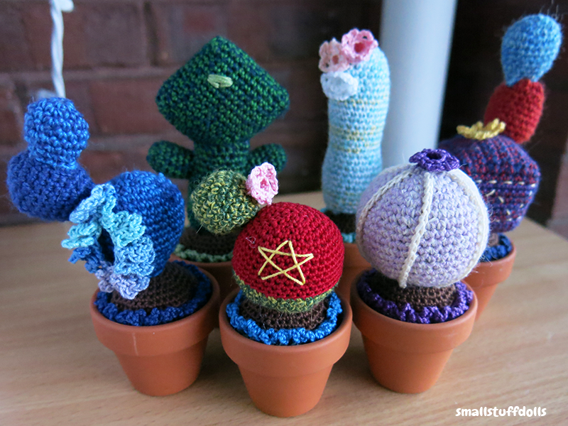 Individual photos over here: imgur.com/a/zXQl8 I am so excited to be finished my Steven Universe cacti set! I made Steven, Amethyst, Garnet, Pearl, Lapis, and Peridot!  They'll be with me...