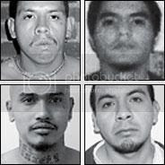 Murder Suspects, clockwise, from top left: Ismael Juraez Cisneros, Denis Rivera, Oscar Alexander Garcia-Orellana and Oscar Antonio Grande.