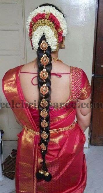 Bride in Simple Silk Blouse   Heavy work bridal blouse