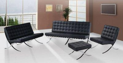 Piece Living Room  on Piece Black Button Tufted Full Leather Modern Living Room Set