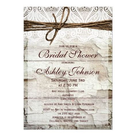 Rustic Barn Wood Lace Bridal Shower Invitations   Zazzle