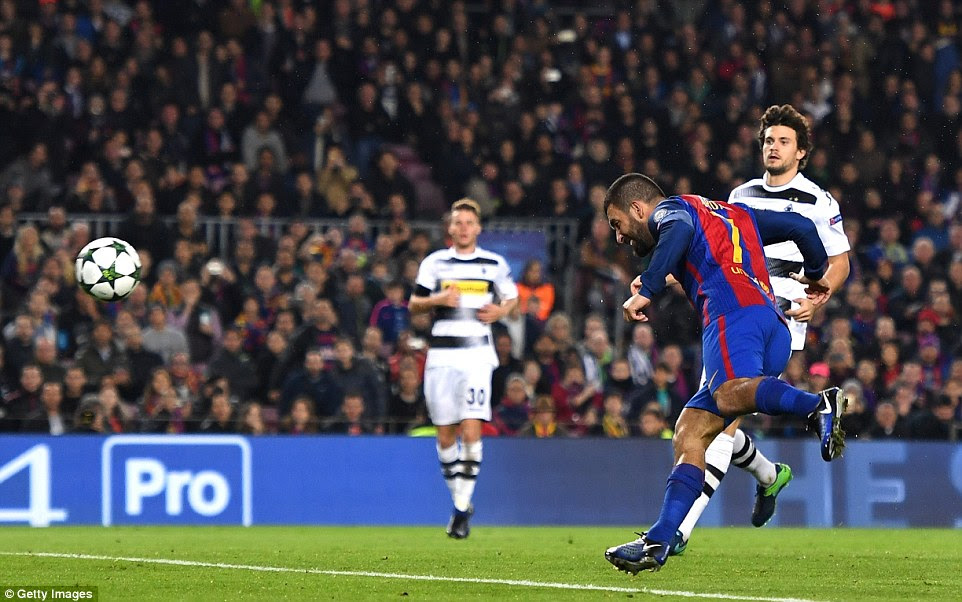 Former Atletico Madrid stalwart Turan heads in five minutes after the break to double Barca's lead at the Nou Camp