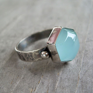 hammered aquamarine ring