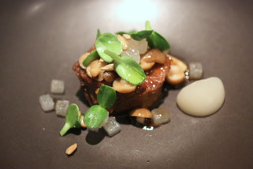 Beef Braised in Pear with Sunflower and Mushroom