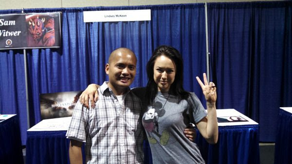 Posing with Lindsey McKeon (who played Tessa on the CW Network TV show SUPERNATURAL) at Long Beach Comic Con...on September 12, 2015.