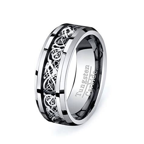 Celtic Dragon Tungsten Ring Mens Wedding Band by