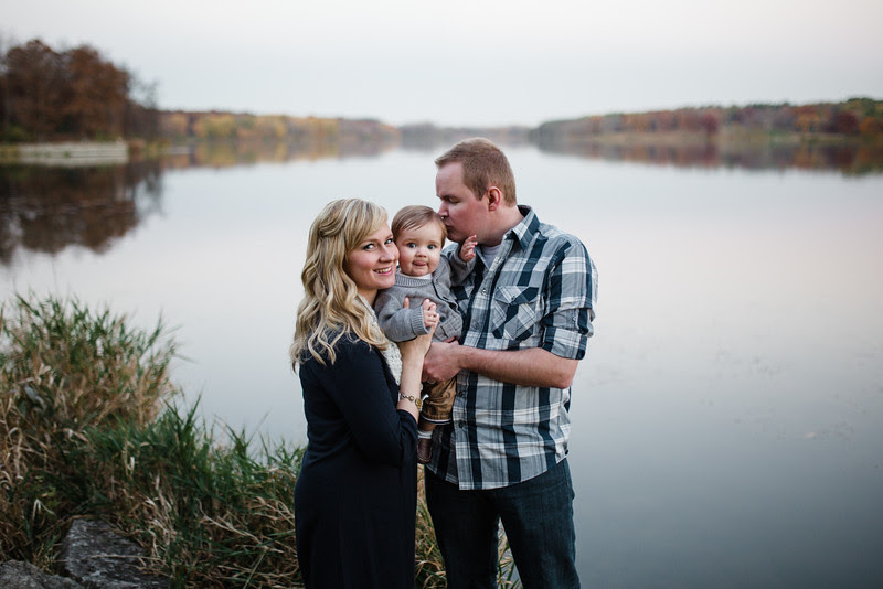 Billy, Stephanie and Grant's fall portrait session at Rock Cut State Park with beautiful autumn foliage.