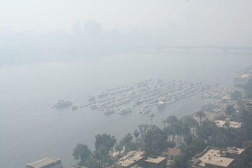 Cairo Air Pollution with smog - Nile River 1
