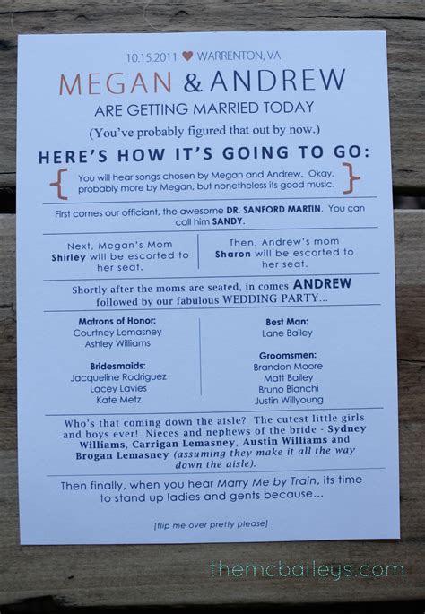 diy wedding programs  mcbaileys