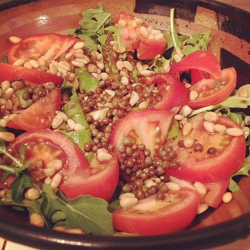 Arugula, Tomatoes, Capers, & Pine Nuts Tossed with a Mustard Vinaigrette