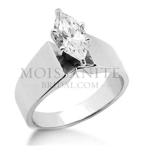 Wide Band Round moissanite Solitaire engagement ring