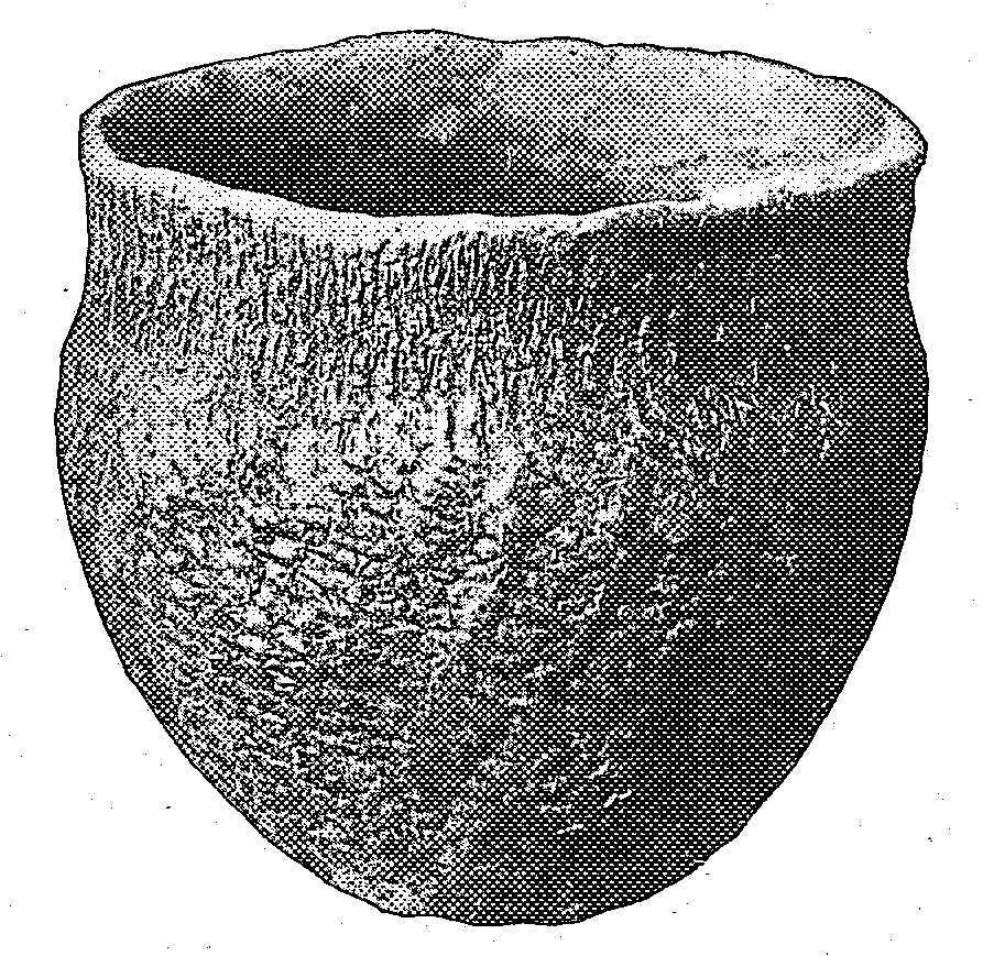 Fabric-marked vase from a mound in North Carolina.