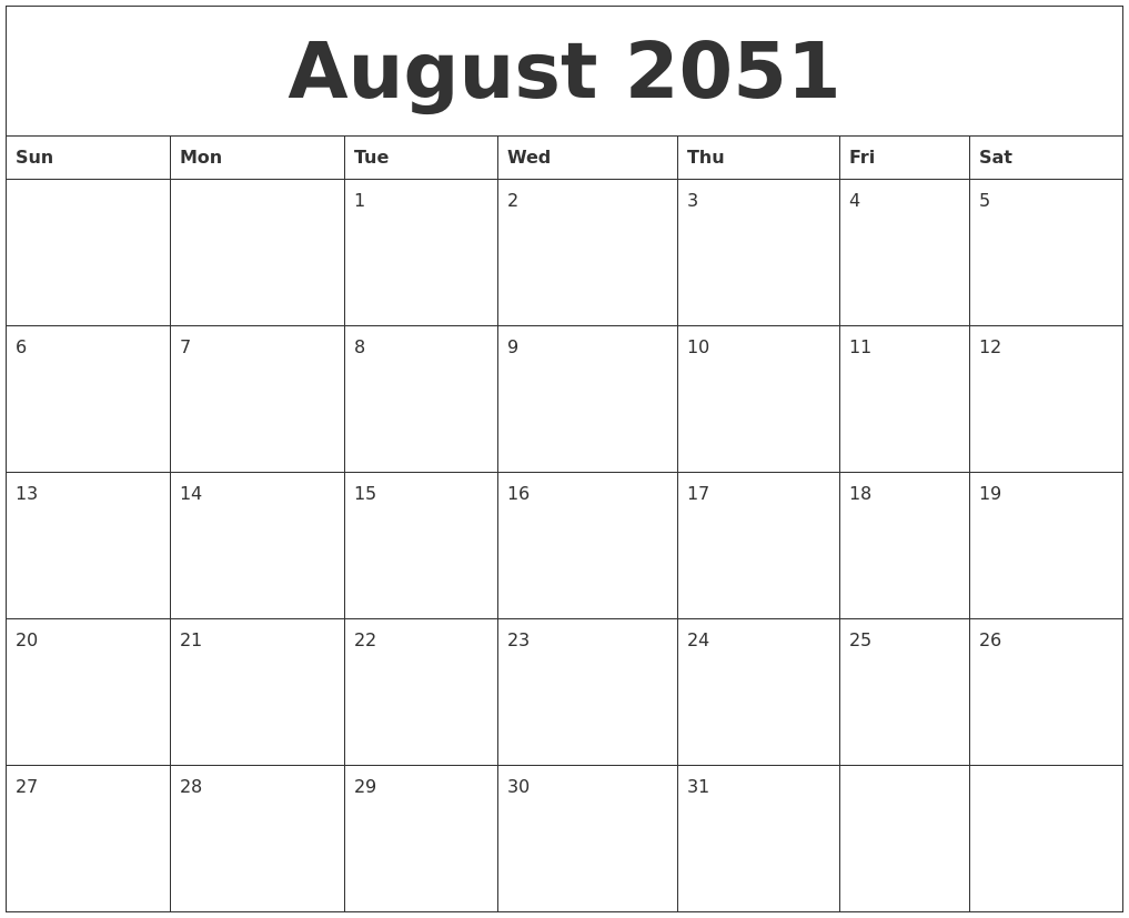 august 2051 free monthly printable calendar