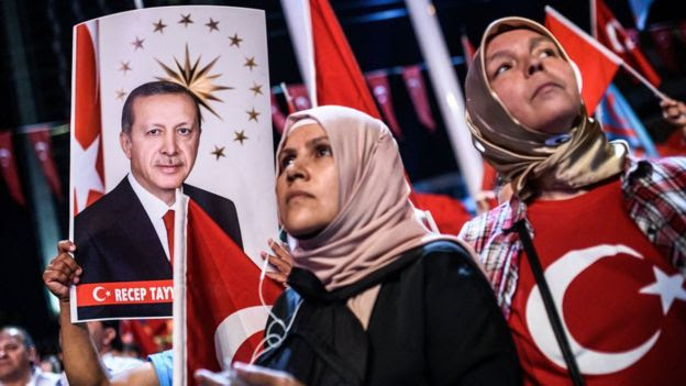Turkish women at pro-Erdogan rally, Istanbul, 22 Jul 16