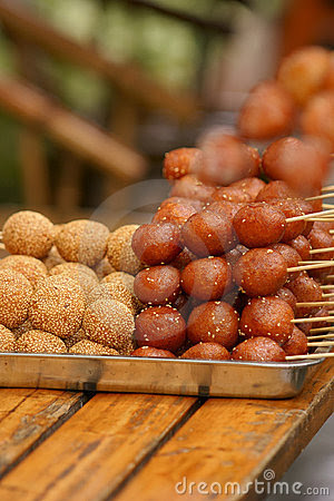 Deep-Fried Glutinous Rice Balls With Sesame Royalty Free ...