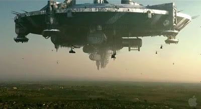 An alien ship hovers above an African city in DISTRICT 9.