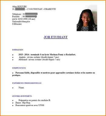 Exemple Cv Pour Adolescent 16 Ans