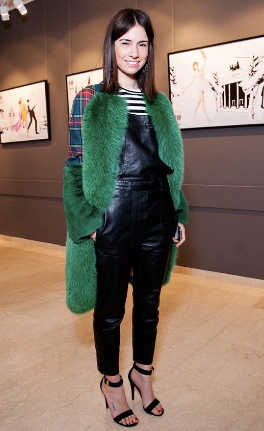 LE FASHION BLOG BLACK LEATHER OVERALLS DUNGAREES NATASHA GOLDENBERG RUSSIAN EDITOR DESIGNER SOCIALITE PLAID SHIRT STRIPES GREEN FUR COAT CELINE ANKLE STRAP HEELS SANDALS