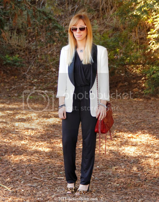 white tuxedo blazer, Kardashian Kollection jumpsuit, Zara leopard print stud heels, Rebecca Minkoff Swing bag, LA fashion blog