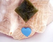 HEART MEETS SQUARE -Glass and Resin Pendant