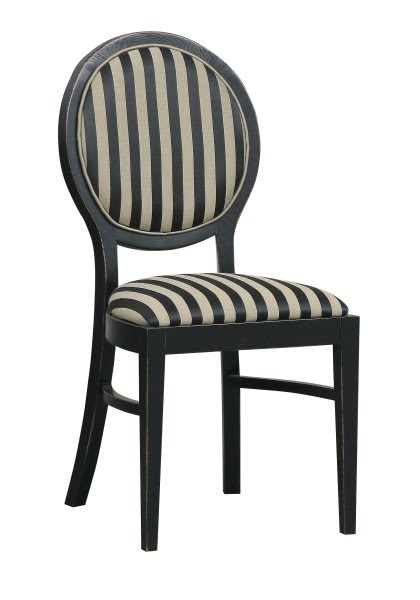 Chair,  Medallion Collection. Medallion chair with a round back. Stable construction, supported with traverses legs and elegant colour are inspired by French style. Upholstered with the fabric available with four patterns and colours: black and gold or cream.