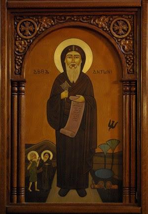 Icono copto de San Antonio. Abajo aparecen San Antonio y San Macario.