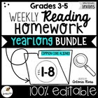 Common Core Weekly Reading Homework: 3rd-4th-5th Grade {Co