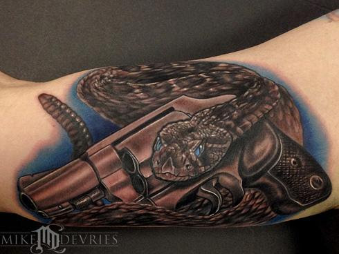 Mike Devries Tattoos Realistic Snake And Gun Tattoo