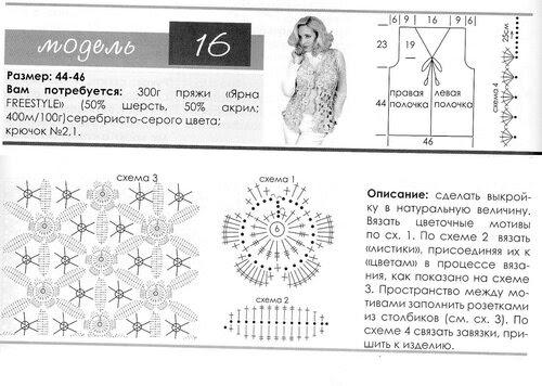 Vest in the technique of coupling lace (description + scheme)