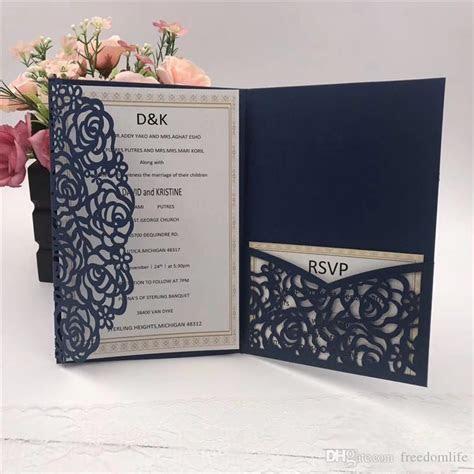 Hot Sale Navy Blue Laser Cut Wedding Invitations Cards