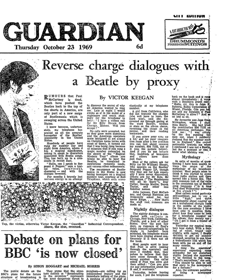 Victor Keegan's Guardian report on Beatle myths in 1969