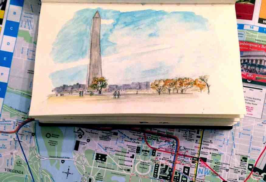 Urban Sketching Washington DC Washington Memorial