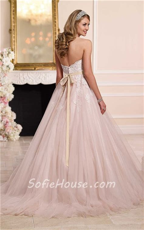 Ball Gown Strapless Sweetheart Dusty Pink Tulle Lace