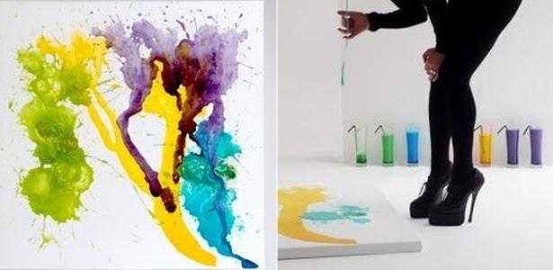 Arte mo-der-na: obra de MIllie Brown (à esquerda) e detalhe da artista durante 'processo de criação'