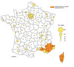 Thumbnail of Geographic distribution of dengue cases in the departments (administrative districts) of metropolitan France, 2007–2010, and departments where the vector was established in 2010. Circles in outlined departments represent dengue cases reported by 3 surveillance systems. AH, Alpes-de-Haute-Provence; AM, Alpes-Maritimes; BR, Bouches-du-Rhône; CS, Corse-du-Sud; HC, Haute-Corse; VA, Var. (Map made with Philcarto, http://philcarto.free.fr/)