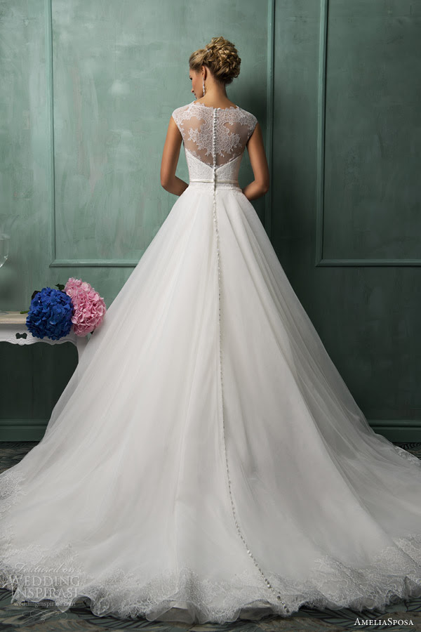 amelia sposa wedding dresses 2014 davia cap sleeve gown back illusion