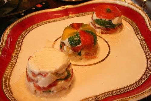 Tomato mozerella and basil terrine