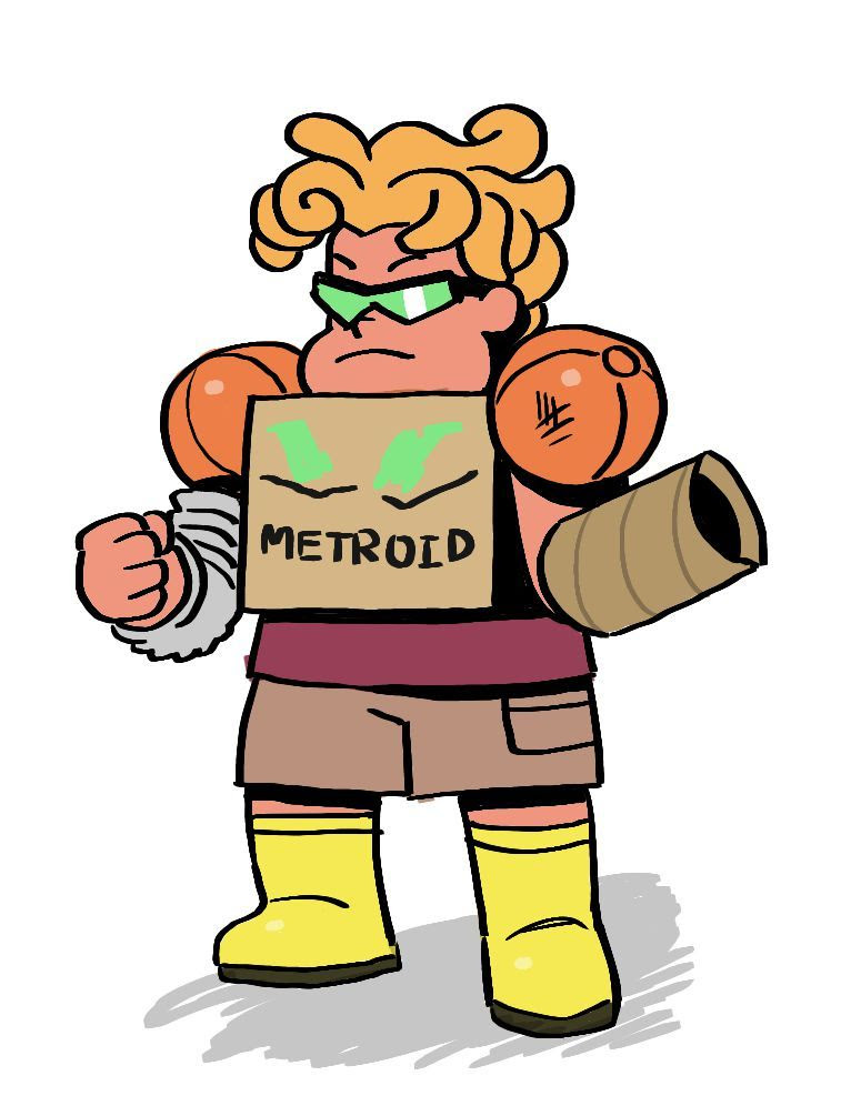 ronaldo doing a cosplay of the famous video game character METROID!! he wasn't able to find a helmet this is for cazadork happy birfday ;)