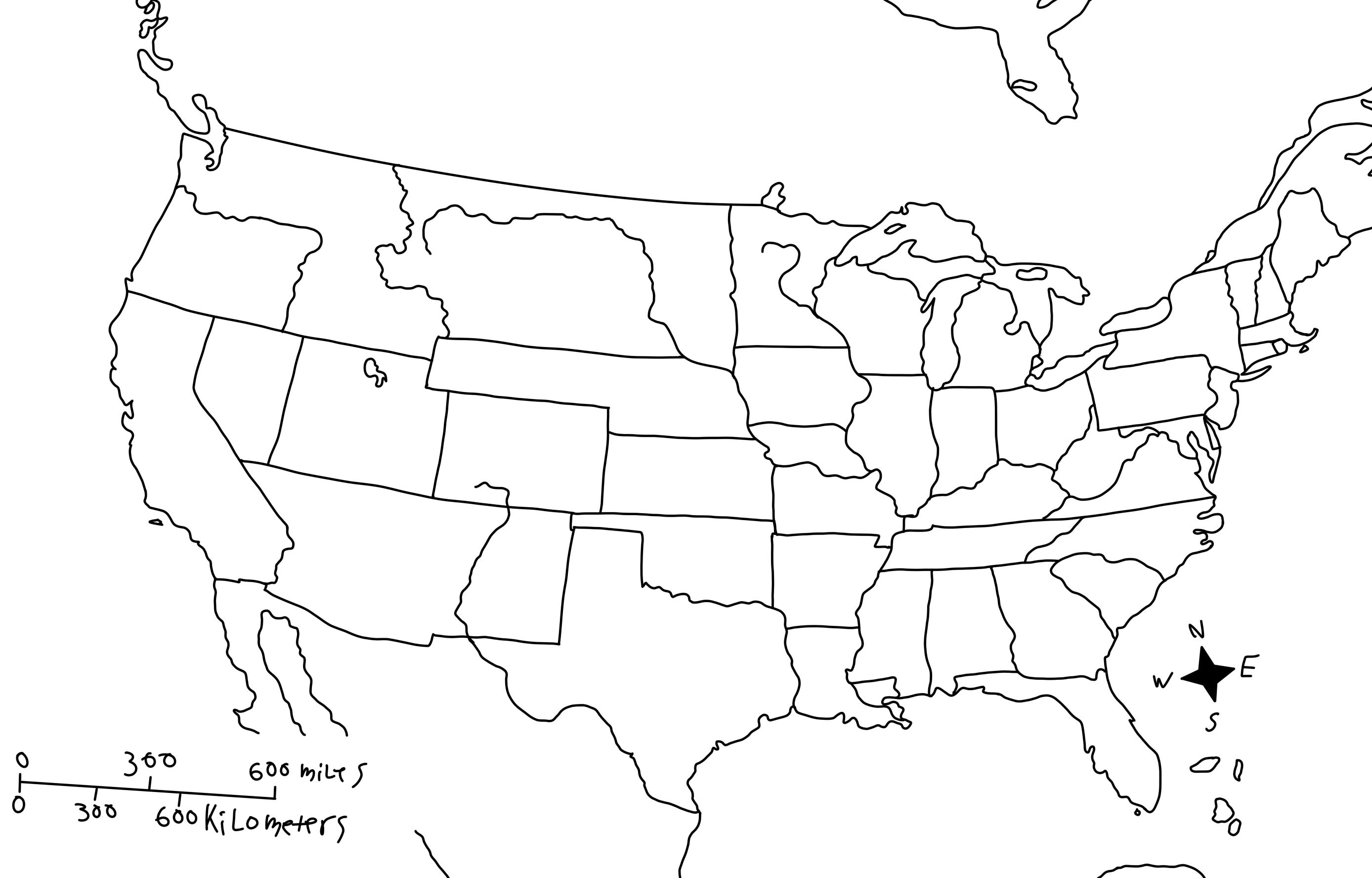 blank america map - Template