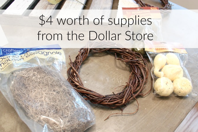 Supplies for a dollar store wreath