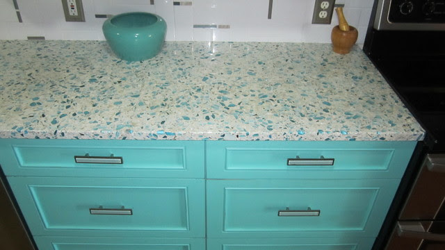Floating Blue Vetrazzo and Teal Cabinetry - Eclectic ...