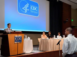 CDC Director Tom Frieden, MD, MPH, welcoming students to CDC and to public health.<br /> Also pictured (left to right): Sam Gerber, CUPS Project Officer, Dr. Leandris Liburd, OMHHE Director, Dr. Kathleen Ethier, OADPG Acting Associate Director. Photo Credit: James Gathany, CDC.