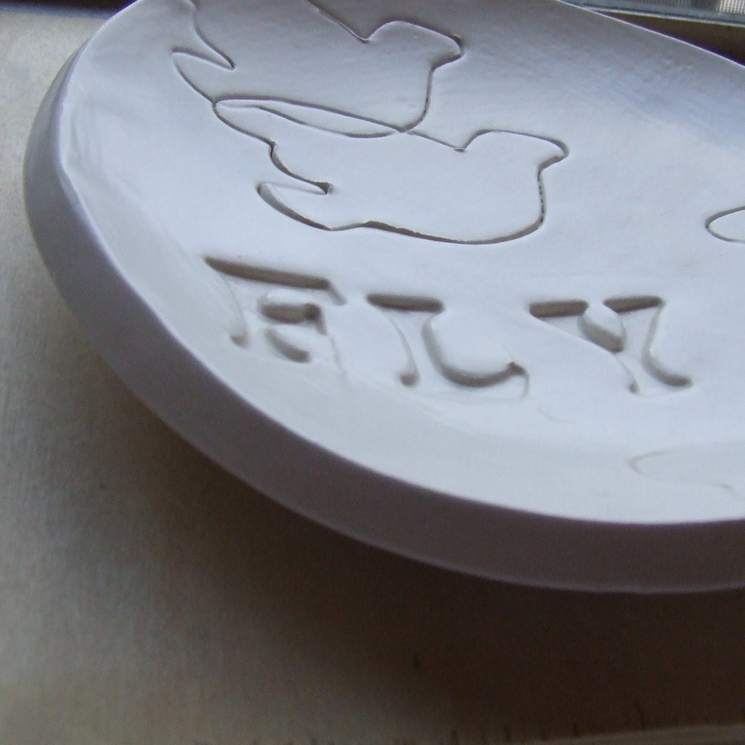 FLY large stamped ceramic text bowl
