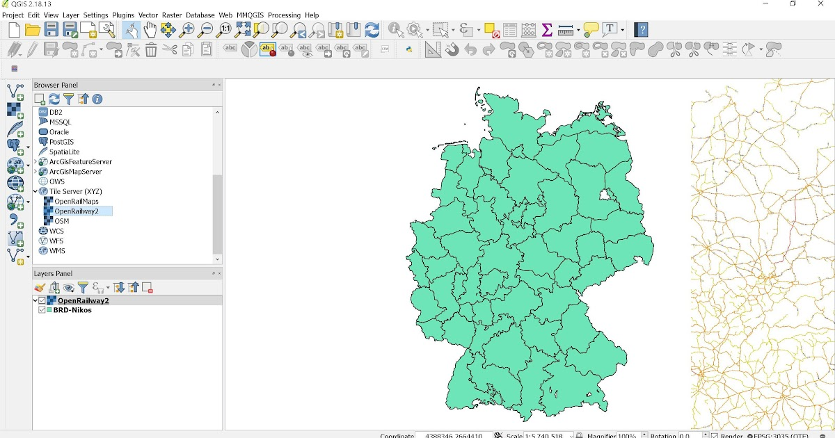 OpenRailway Map basemap in QGISprojections Basemap and