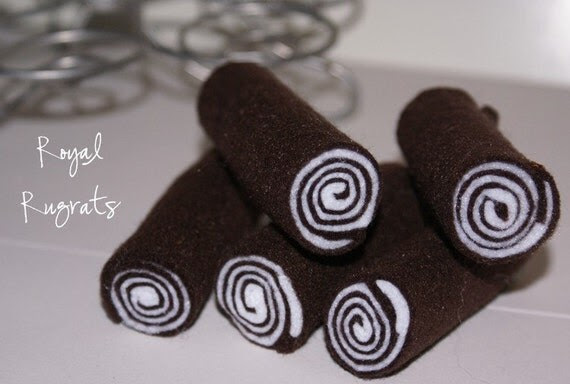 2 Yummy Chocolate Rolls Eco Felt Play Food